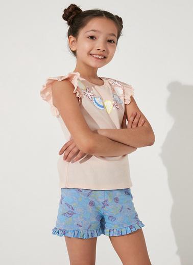 Penti Çok Renkli Kız Çocuk Seashell Frill Ss 2Li Pijama Takımı Renkli